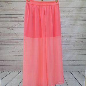4/$25 Under Skies pink mini maxi chiffon skirt